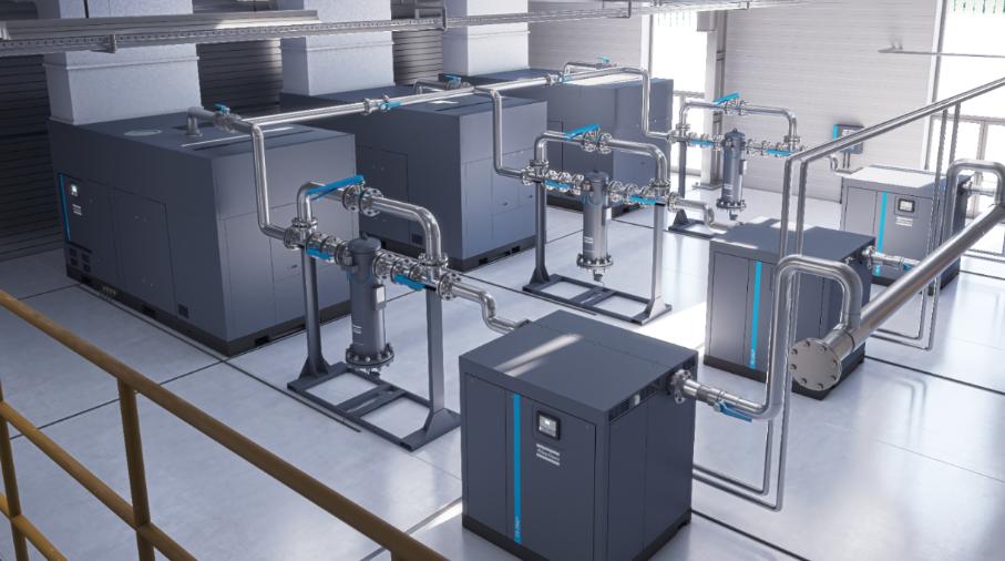 industrial compressors in large compressor room